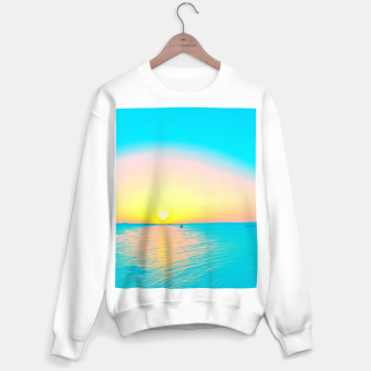 Miniature de image de Romantic summer sunset in blue and a sailing boat in the sea Sweater regular, Live Heroes