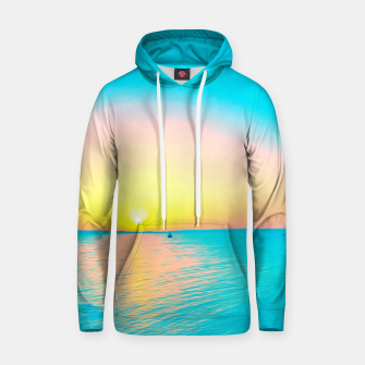 Miniature de image de Romantic summer sunset in blue and a sailing boat in the sea Hoodie, Live Heroes