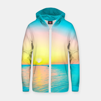 Miniature de image de Romantic summer sunset in blue and a sailing boat in the sea Zip up hoodie, Live Heroes