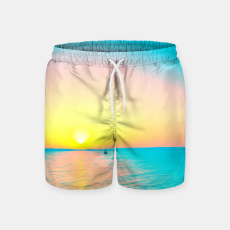 Miniature de image de Romantic summer sunset in blue and a sailing boat in the sea Swim Shorts, Live Heroes