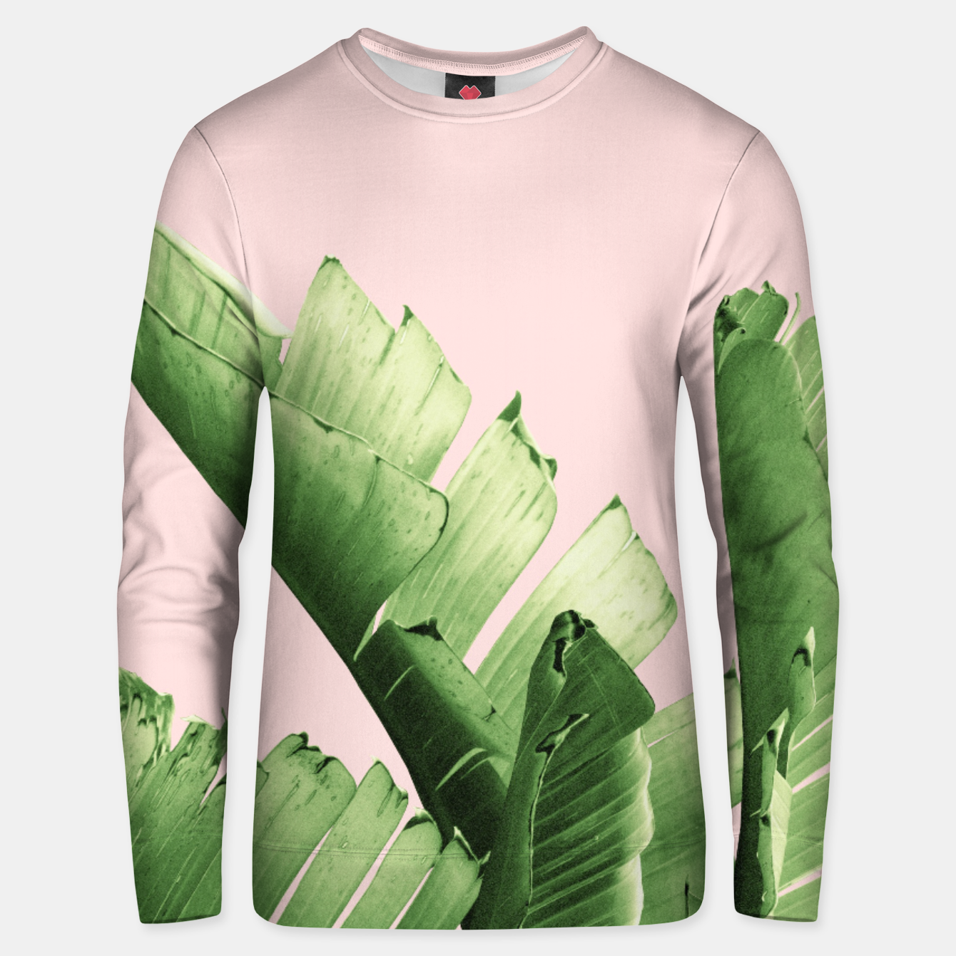 Zdjęcie Blush Banana Leaves Dream #12 #tropical #decor #art Unisex sweatshirt - Live Heroes