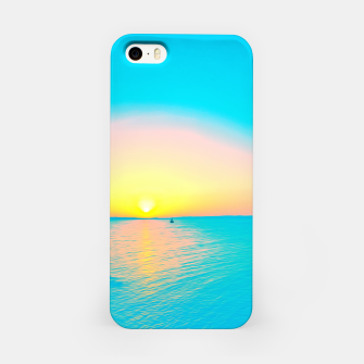 Miniature de image de Romantic summer sunset in blue and a sailing boat in the sea iPhone Case, Live Heroes