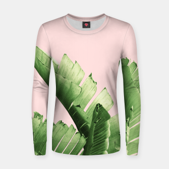 Blush Banana Leaves Dream #12 #tropical #decor #art Frauen sweatshirt obraz miniatury