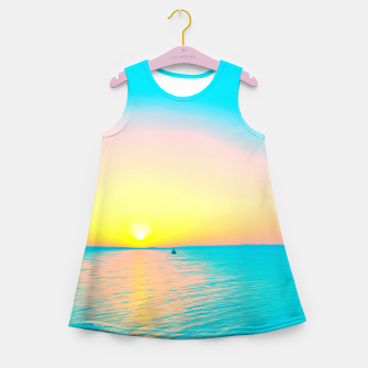 Miniature de image de Romantic summer sunset in blue and a sailing boat in the sea Girl's summer dress, Live Heroes