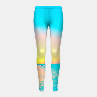 Miniature de image de Romantic summer sunset in blue and a sailing boat in the sea Girl's leggings, Live Heroes
