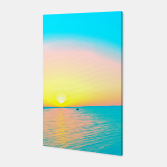 Miniatur Romantic summer sunset in blue and a sailing boat in the sea Canvas, Live Heroes