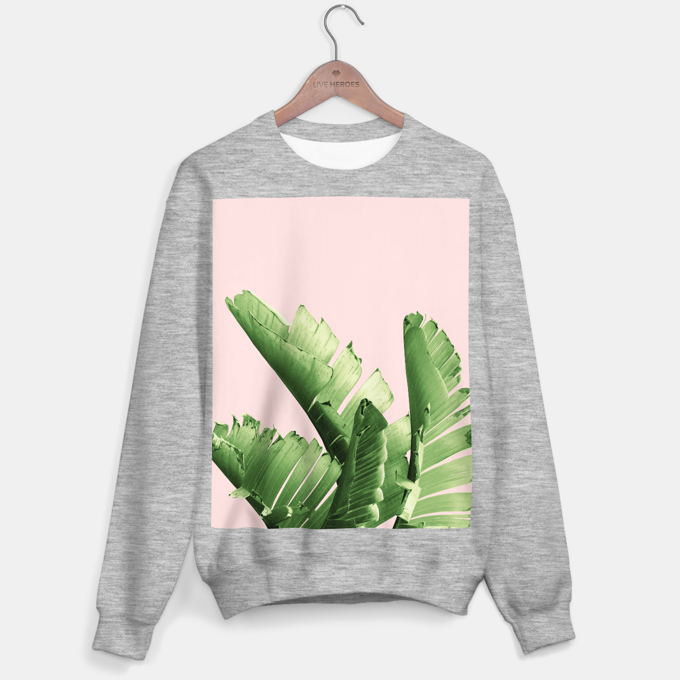 Zdjęcie Blush Banana Leaves Dream #12 #tropical #decor #art Sweatshirt regulär - Live Heroes