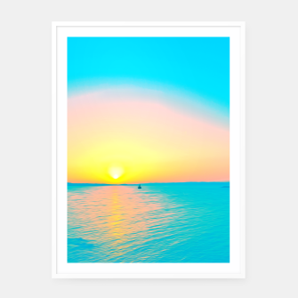Miniatur Romantic summer sunset in blue and a sailing boat in the sea Framed poster, Live Heroes