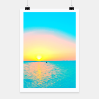 Miniatur Romantic summer sunset in blue and a sailing boat in the sea Poster, Live Heroes