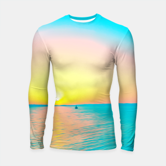 Miniatur Romantic summer sunset in blue and a sailing boat in the sea Longsleeve rashguard , Live Heroes