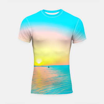 Miniatur Romantic summer sunset in blue and a sailing boat in the sea Shortsleeve rashguard, Live Heroes