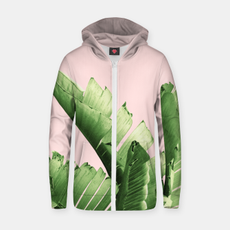 Miniature de image de Blush Banana Leaves Dream #12 #tropical #decor #art Reißverschluss kapuzenpullover, Live Heroes
