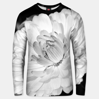 Thumbnail image of White blossoming chrysanth, black and white flower photography Unisex sweater, Live Heroes