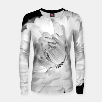 Thumbnail image of White blossoming chrysanth, black and white flower photography Women sweater, Live Heroes
