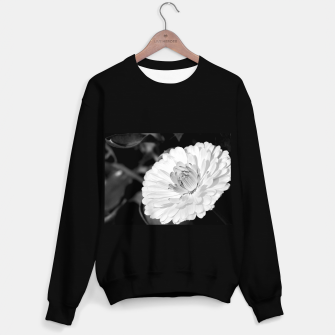 Thumbnail image of White blossoming chrysanth, black and white flower photography Sweater regular, Live Heroes