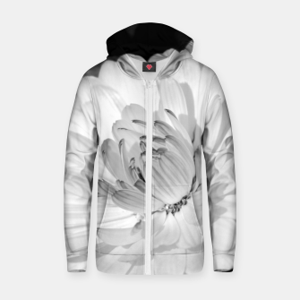 Thumbnail image of White blossoming chrysanth, black and white flower photography Zip up hoodie, Live Heroes