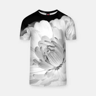 Thumbnail image of White blossoming chrysanth, black and white flower photography T-shirt, Live Heroes