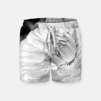 Miniatur White blossoming chrysanth, black and white flower photography Swim Shorts, Live Heroes