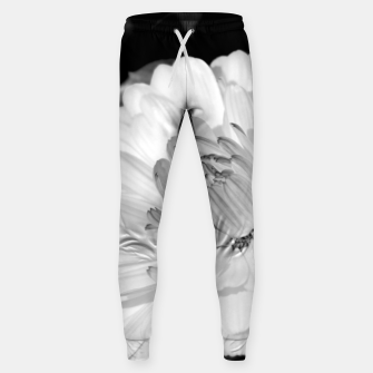 Thumbnail image of White blossoming chrysanth, black and white flower photography Sweatpants, Live Heroes