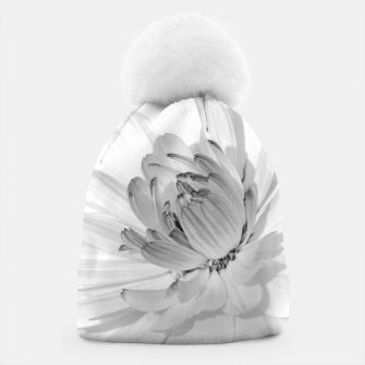 Thumbnail image of White blossoming chrysanth, black and white flower photography Beanie, Live Heroes