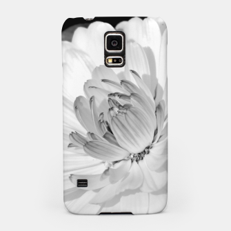 Thumbnail image of White blossoming chrysanth, black and white flower photography Samsung Case, Live Heroes