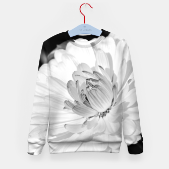 Thumbnail image of White blossoming chrysanth, black and white flower photography Kid's sweater, Live Heroes