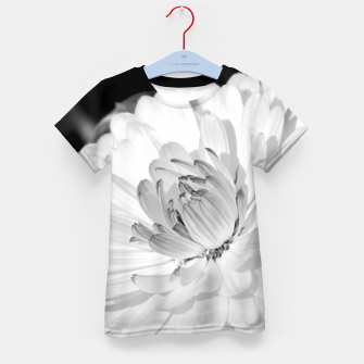 Thumbnail image of White blossoming chrysanth, black and white flower photography Kid's t-shirt, Live Heroes
