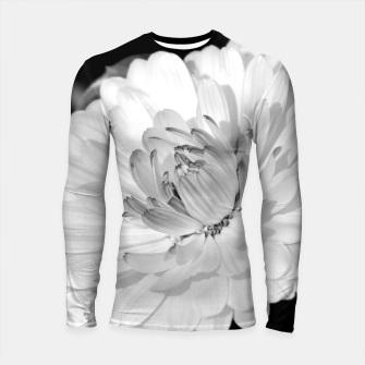 Thumbnail image of White blossoming chrysanth, black and white flower photography Longsleeve rashguard , Live Heroes