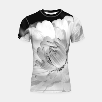 Thumbnail image of White blossoming chrysanth, black and white flower photography Shortsleeve rashguard, Live Heroes