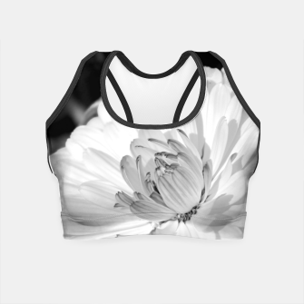 Thumbnail image of White blossoming chrysanth, black and white flower photography Crop Top, Live Heroes