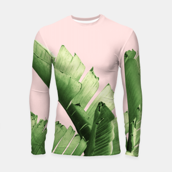 Blush Banana Leaves Dream #12 #tropical #decor #art Longsleeve rashguard obraz miniatury