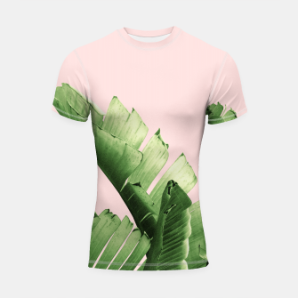 Blush Banana Leaves Dream #12 #tropical #decor #art Shortsleeve rashguard obraz miniatury