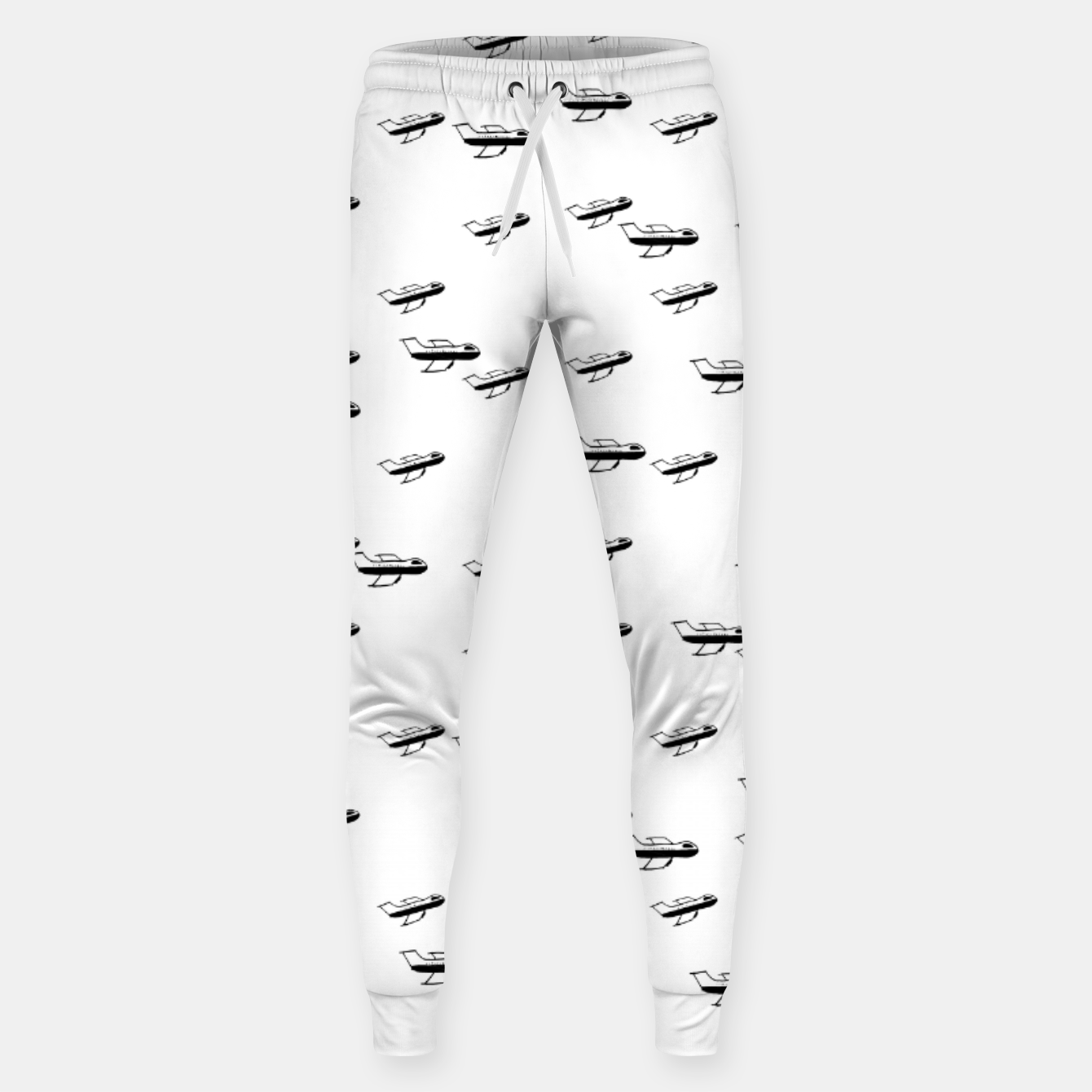 Image of Sketchy Style Pencil Drawing Plane Motif Pattern Design Sweatpants - Live Heroes