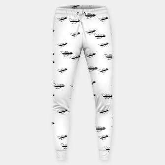 Miniatur Sketchy Style Pencil Drawing Plane Motif Pattern Design Sweatpants, Live Heroes