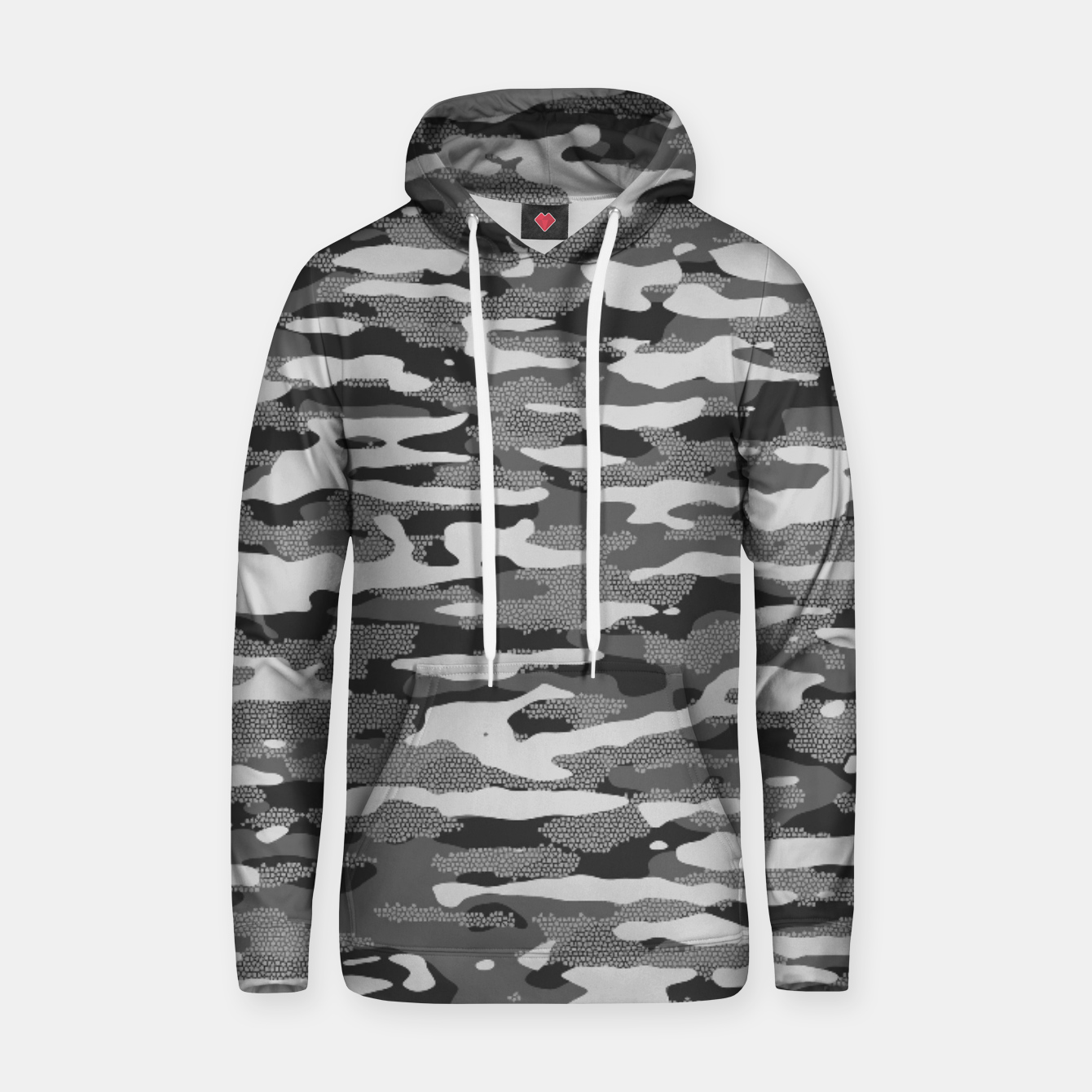 Image of Grey Camouflage Pattern Mosaic Style Kapuzenpullover - Live Heroes
