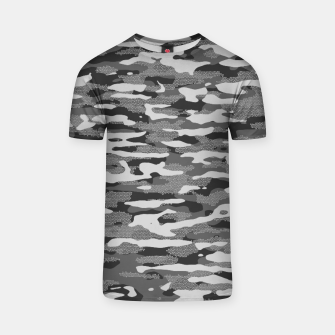 Miniatur Grey Camouflage Pattern Mosaic Style T-Shirt, Live Heroes