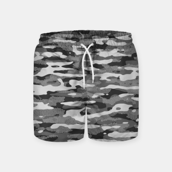 Miniatur Grey Camouflage Pattern Mosaic Style Badeshorts, Live Heroes