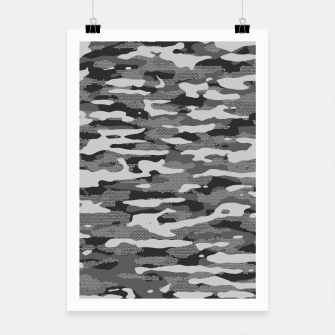 Miniatur Grey Camouflage Pattern Mosaic Style Plakat, Live Heroes