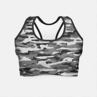 Miniatur Grey Camouflage Pattern Mosaic Style Crop Top, Live Heroes
