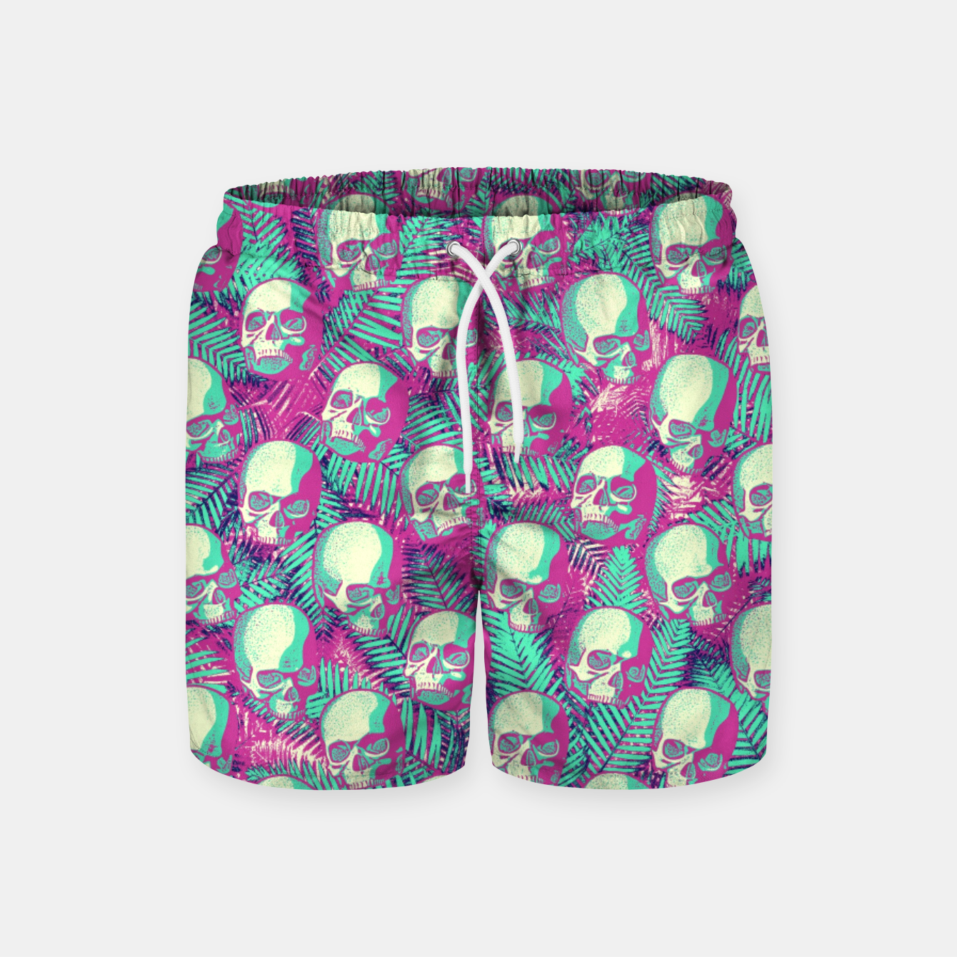 Image of Kawaii Hawaii Goth Skulls Swim Shorts - Live Heroes