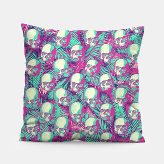 Thumbnail image of Kawaii Hawaii Goth Skulls Pillow, Live Heroes