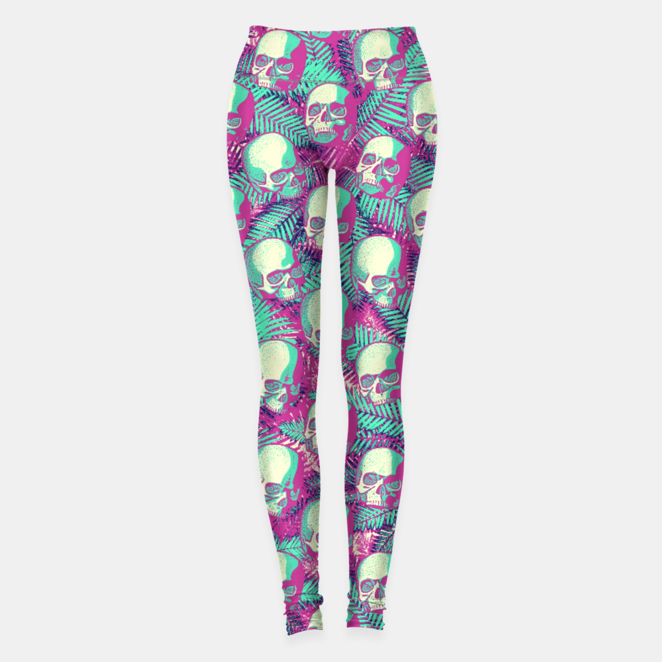 Image of Kawaii Hawaii Goth Skulls Leggings - Live Heroes