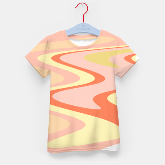 Miniatur River of dreams, pink and yellow waves, colorful stream of water Kid's t-shirt, Live Heroes