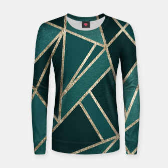 Thumbnail image of Classic Teal Champagne Gold Geo #1 #geometric #decor #art  Frauen sweatshirt, Live Heroes