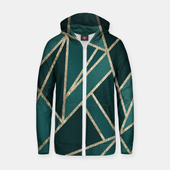 Thumbnail image of Classic Teal Champagne Gold Geo #1 #geometric #decor #art  Reißverschluss kapuzenpullover, Live Heroes