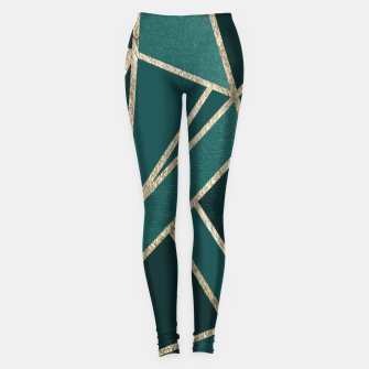 Classic Teal Champagne Gold Geo #1 #geometric #decor #art  Leggings miniature