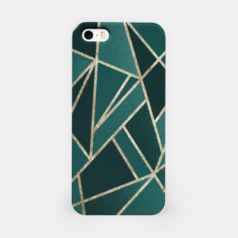 Classic Teal Champagne Gold Geo #1 #geometric #decor #art  iPhone-Hülle obraz miniatury