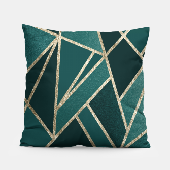 Classic Teal Champagne Gold Geo #1 #geometric #decor #art  Kissen obraz miniatury