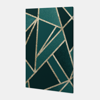 Classic Teal Champagne Gold Geo #1 #geometric #decor #art  Canvas obraz miniatury
