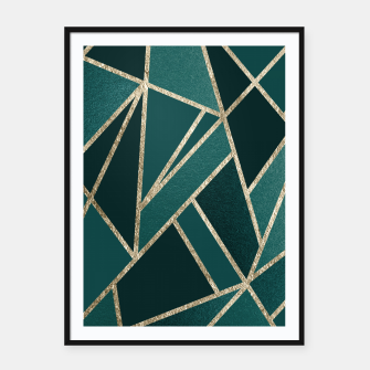 Thumbnail image of Classic Teal Champagne Gold Geo #1 #geometric #decor #art  Plakat mit rahmen, Live Heroes